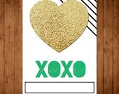 Printable Glitter Heart Valentine Cards. DIY Teen Girl XO Valentine's Day Cards. Girlie Gold Valentine Cards.