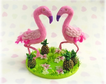 Flamingo Cake Topper Tropical Alternative Wedding Flamingos with Pineapples and Exotic Flowers Unusual Weddings Pink Needle Felted Birds