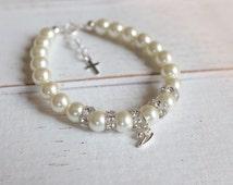 Baby initial bracelet-baby baptism gift-baby christening gift-newborn bracelet-baby jewelry-infant bracelet-dedication jewelry-toddler gift