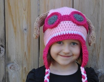 Crochet newborn, baby, toddler or kids paw patrol inspired Skye hat