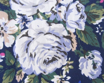 "1/2m Cath Kidston. Cotton Upholstery Fabric. Hampstead Rose Deep Blue.  (19"" x 57"") Heavy Canvas."