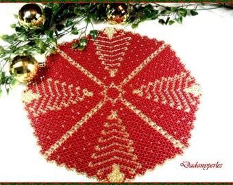 pattern bead weaving doily  gold tree