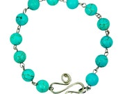 Handmade Turquoise and Silver S-hook and Spiral Gemstone Bracelet - Egyptian Inspired