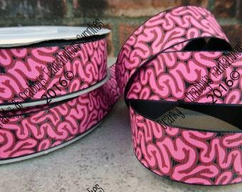 "7/8"" ZOMBIE -   Brains -  US Designer Printed Ribbon - 1yd, 3yd or 5 yd - Intestine, Walking Dead, Zombies, Horror"