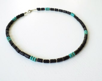 NEW! Necklace for men with Black Lava stones, Turquoise color Howlite gemstones
