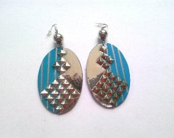silver n aqua earrings