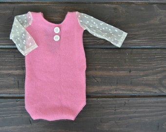 Newborn Photography Bodysuit - Upcycled Cashmere BodySuit With Polka Dot Lace Sleeves   - Ready to Ship