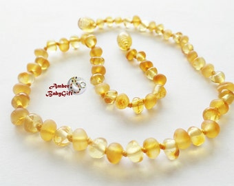 RAW (unpolished) and Polished Baltic Amber Necklace - Raw and Polish Honey Amber Beads - Screw or Safety clasp - Choose Your Length, K-25