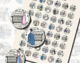Jane Austen Novels--Fantasy Apothecary Labels, ONE INCH CIRCLES (25 mm), with 1/2 inch (13mm) and 3/4 inch (20mm) circles also included