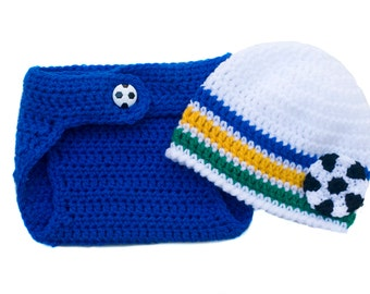 BABY SOCCER OUTFIT, Royal Blue White Green Gold, Soccer Beanie Hat, Brazilian Football Baby, Brazil Crochet Soccer Baby, Baby Knit Soccer