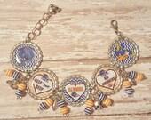 UTSA Roadrunners Inspired Glitter Bottlecap Bracelet with Beads and Bling