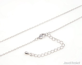 """18"""" Rhodium Plated Chain with Extension - 235 4DC (1.2mm x 1.5mm) / 18 inch (45cm) / CORH011-CH (5pcs)"""