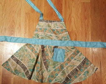 Flower/Paisley Retro Circle Skirt Apron, kids' apron, bake, cook, paint accessories