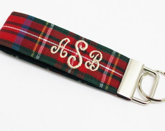 Monogrammed/Personalized Plaid Key Fob in Wristlet or Mini Length - Embroidered