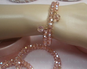 Crystal Bracelet Set, with Earrings, 1 Set. available in Pink AB, Crystal AB, Purple AB, Green Ab