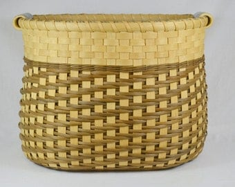 "Large Reed or Wicker Storage Basket with Pottery Handles for Laundry, Toys, Sewing, or Yarn - ""Annabelle"""
