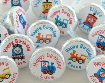Train Party Favors - Personalized Train Hershey Kisses -  Train Birthday Hershey Kiss Stickers - Train Decor -  Train Party Kisses - Thomas