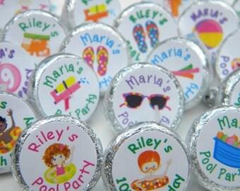 Birthday Favors - Pool Party Hershey Kiss Stickers - Personalized Birthday Favors - Birthday Favors - Pool Party Kisses - Pool Party Decor