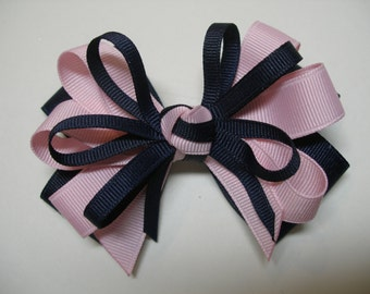 Navy Blue Baby Pink Hair Bow You pick color 4 inch Hair Bow