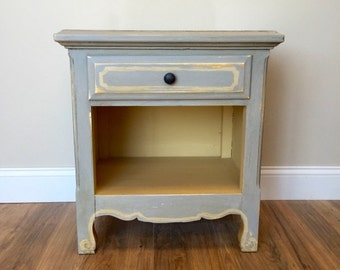Gray Nightstand, Small Side Table, Shabby Chic End Table, Bedroom Nightstand