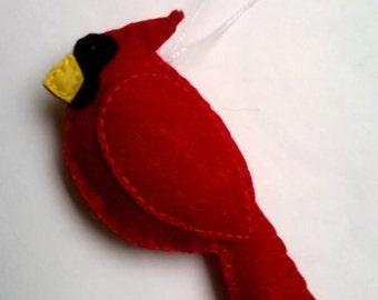 Cardinal bird ornament - RED - felt cardinal - felt bird ornament - handmande felt ornaments - Christmas decor - Baby shower - home decor
