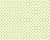 """Polka Dot Fabric /Lime Green and White/ Riley Blake Fabric/1/4"""" in Diameter/Cotton Sewing Material/Fat Quarter, Half Yard, By The Yard"""