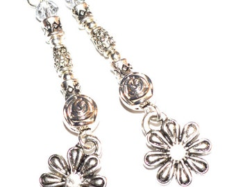 Silver dangle flower earrings,metal dangle chic casual earrings