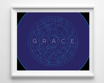 Grace, Daily Reminders, Bedroom Decor, Colorful Art, Motivational, Inspirational, Graphic Design