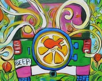 Happy Art! Pop Art Original! Green Jeep with Lemon and Goldfish - a 20x20 Inch Original Acrylic Painting on Wood Panel