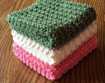 Hand Knit Cotton Dish Cloths Set of 3 Pink Green Cream
