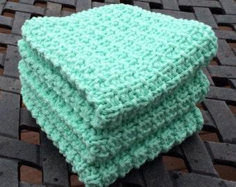 Hand Knit Cotton Dish Cloths Set of 3  Mint Green