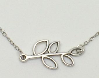 OLIVE BRANCH bracelet, Olive branch chain bracelet, Olive leaf bracelet, Silver Olive branch bracelet