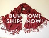 Pashmina scarf, Burgundy  shawl, Burgundy scarf, Shawls, Wedding Scarf, Gift for Bridesmaid, Wedding Keepsake, Accessory, Wedding Gift