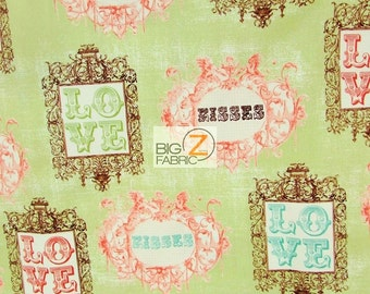 100% Cotton Fabric By Windham Fabrics - Love And Kisses Green - By The Yard (FH-2770) Clothing Decor Theme Licensed Quilt