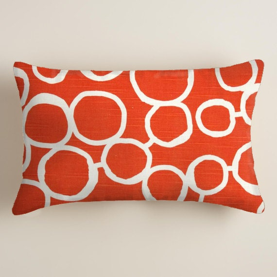 Decorative Orange Lumbar Pillow : PILLOWS Orange Pillows Lumbar Decorative Throw by ThePillowCo
