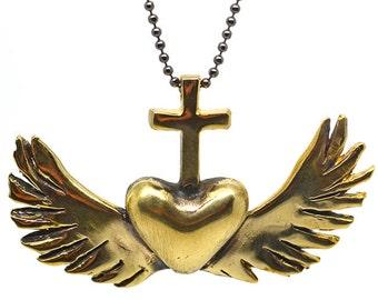 Royal Heart Pendant - Brass or White Bronze