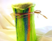 Handmade Felted Vase, Tencel, Tussah Silk, Merino Wool, Felt, Wine Cozy, Holds Water with Glass, Green, Blue, White, Orange