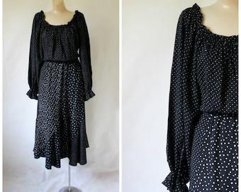 1970's Dress / Vintage Dress / Bohemian Dress / Swiss Dot Dress / Bellagio Dress / Poet Dress M/L