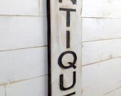 """Antiques Vertical Sign - 43"""" Tall Carved in a Cypress Board Rustic Distressed Shop Advertisement Farmhouse Style Wooden Wood"""