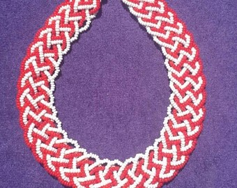 Vintage plaited red and white beaded necklace c 1950's - 60's