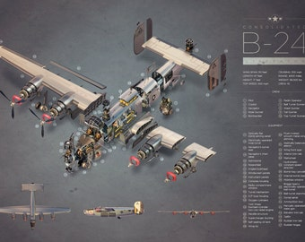 Consolidated B-24 Exploded View Cross Section Poster