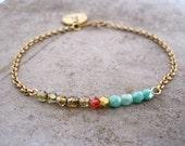 Charm Bracelet-Personalized Charm Bracelet-Initial Jewelry-Monogram Charm Bracelet-Delicate Bracelet-Dainty Bracelet-Gift Bracelet-Free Ship