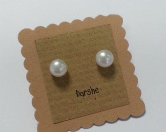 Freshwater White Pearl Stud Earrings. pearl earrings, pearl studs, white