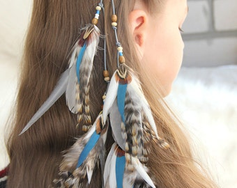 """Blue Feather Hair Clip Light Blue and White Hair Extension """"Boho Wind"""" Blue Feather Hair Clip Tribal Feather Hair Extension Boho Hair Clip"""