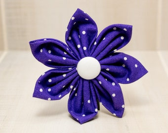 Dog Collar Flower, Fabric Flower, Dog Collar, Purple and White Polka Dots