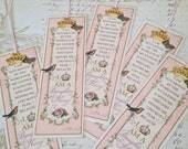 "SET of 5 Daughter of the King Bookmark Princess Party Favor ""FRENCH PINK"" Sunday School Class gift Inspirational Gift StrengthfortheJourney"