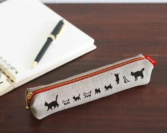 cat family slim pencil case