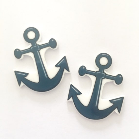Laser Cut Supplies- 2 Pieces. 29mm Anchor Charms - Laser Cut Acrylic - Jewelry Supplies-Little Laser Lab.Online Laser Cutting