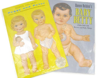 Vintage 80s Shackman and Co Queen Holden's Baby Betty & Peggy And Peter paper dolls