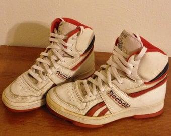 Vintage 1980's boy's/ men's Reebok hi top sneakers, White & red